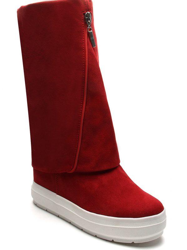 Botas Casual Fashion Plataformas Color Rojo Con Detalle De Cremallera Anuwa Suede1