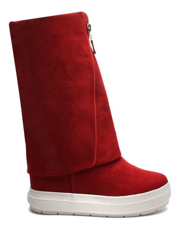 Botas Casual Fashion Plataformas Color Rojo Con Detalle De Cremallera Anuwa Suede2